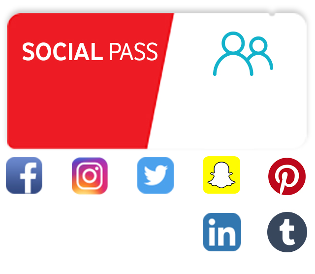O Social Pass inclui Facebook, Instagram, Twitter, Snapchat, Pinterest, LinkedIn e Tumblr